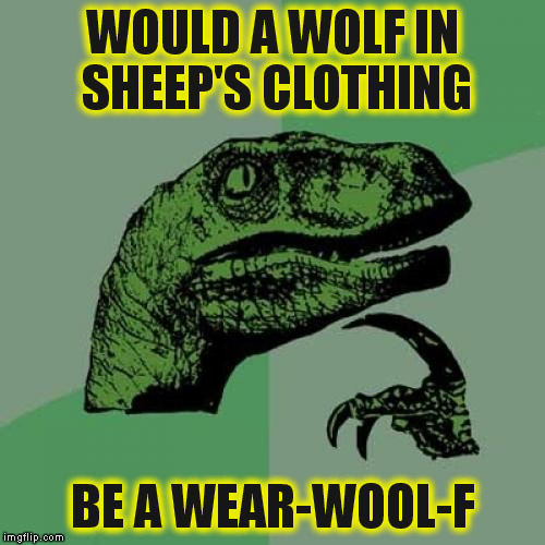 Philosoraptor Meme | WOULD A WOLF IN SHEEP'S CLOTHING BE A WEAR-WOOL-F | image tagged in memes,philosoraptor | made w/ Imgflip meme maker