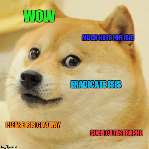 Wish all these terrrorist attacks would just stop | WOW MUCH HATE FOR ISIS ERADICATE ISIS PLEASE ISIS GO AWAY SUCH CATASTROPHE | image tagged in memes,doge | made w/ Imgflip meme maker