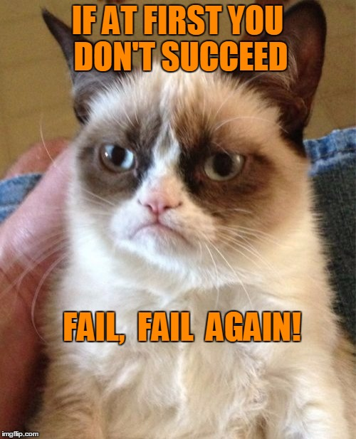 Grumpy Cat Meme | IF AT FIRST YOU DON'T SUCCEED FAIL,  FAIL  AGAIN! | image tagged in memes,grumpy cat | made w/ Imgflip meme maker