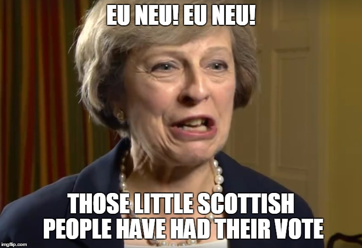 EU NEU! EU NEU! THOSE LITTLE SCOTTISH PEOPLE HAVE HAD THEIR VOTE | image tagged in terence may or may not | made w/ Imgflip meme maker