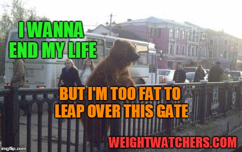 Don't let this happen to you.  Start losing weight today! | I WANNA END MY LIFE BUT I'M TOO FAT TO LEAP OVER THIS GATE WEIGHTWATCHERS.COM | image tagged in memes,city bear | made w/ Imgflip meme maker