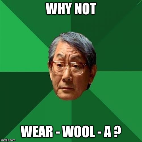WHY NOT WEAR - WOOL - A ? | made w/ Imgflip meme maker