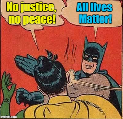 Batman Slapping Robin Meme | No justice, no peace! All lives Matter! | image tagged in memes,batman slapping robin | made w/ Imgflip meme maker