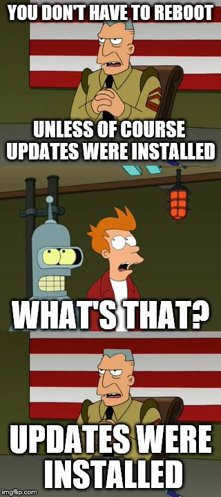 Updates were installed you don t have to reboot updates were