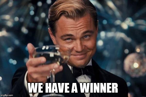 Leonardo Dicaprio Cheers Meme | WE HAVE A WINNER | image tagged in memes,leonardo dicaprio cheers | made w/ Imgflip meme maker