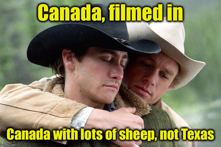Canada, filmed in Canada with lots of sheep, not Texas | made w/ Imgflip meme maker