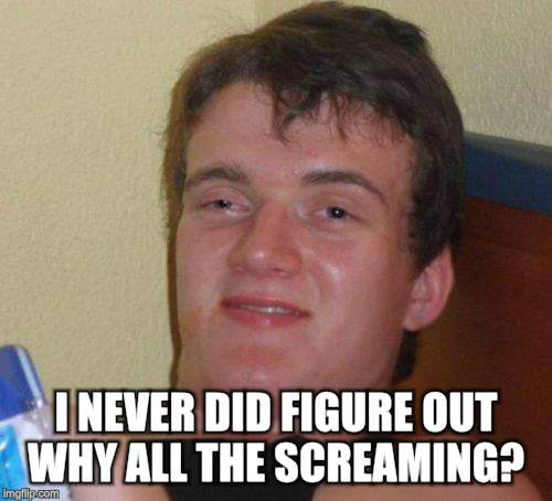 10 Guy Meme | I NEVER DID FIGURE OUT WHY ALL THE SCREAMING? | image tagged in memes,10 guy | made w/ Imgflip meme maker