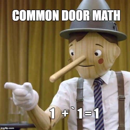SEPARATE BUT EQUAL | COMMON DOOR MATH 1   + ` 1 = 1 | image tagged in pinnocchio you have potential,school,lies,mayor | made w/ Imgflip meme maker