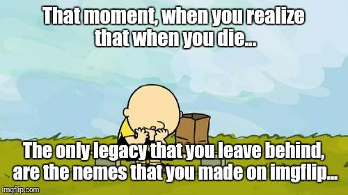When reality sets in...  | That moment, when you realize that when you die... The only legacy that you leave behind, are the nemes that you made on imgflip... | image tagged in depressed charlie brown,aaarrrggghhhh | made w/ Imgflip meme maker