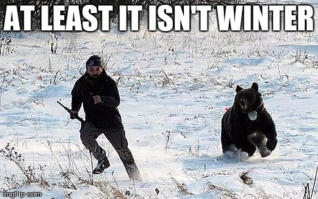 Confession Bear Chasing | AT LEAST IT ISN'T WINTER | image tagged in confession bear chasing | made w/ Imgflip meme maker