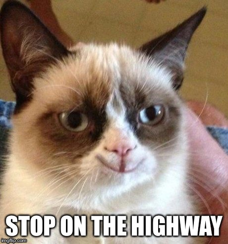 grumpy smile | STOP ON THE HIGHWAY | image tagged in grumpy smile | made w/ Imgflip meme maker