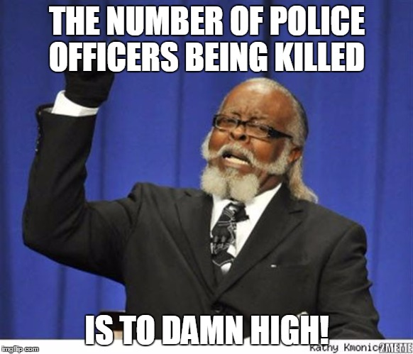 to many police are being killed | THE NUMBER OF POLICE OFFICERS BEING KILLED IS TO DAMN HIGH! | image tagged in the amout of depressed people is to damn high,police,killed,respect,enough is enough,serve and protect | made w/ Imgflip meme maker