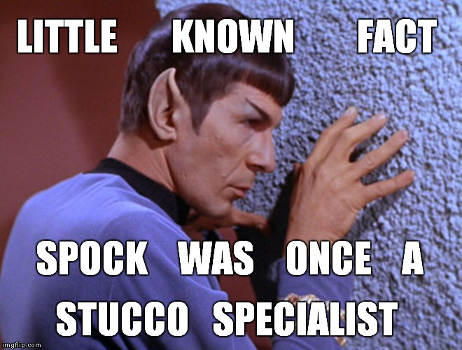 Spock inspects his stucco wall |  LITTLE       KNOWN        FACT; SPOCK    WAS    ONCE    A; STUCCO   SPECIALIST | image tagged in meme,funny meme,spock,leonard nimoy,new construction,build a wall | made w/ Imgflip meme maker