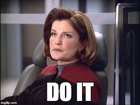 JANEWAY DO IT |  DO IT | image tagged in janeway,star trek voyager,do it | made w/ Imgflip meme maker