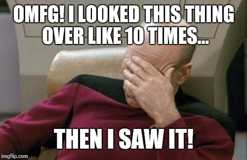 Captain Picard Facepalm Meme | OMFG! I LOOKED THIS THING OVER LIKE 10 TIMES... THEN I SAW IT! | image tagged in memes,captain picard facepalm | made w/ Imgflip meme maker