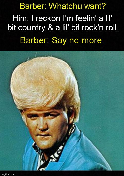 Meanwhile, at the barbershop.... | Barber: Whatchu want? Barber: Say no more. Him: I reckon I'm feelin' a lil' bit country & a lil' bit rock'n roll. | image tagged in funny meme,barber,haircut,country  western,country music | made w/ Imgflip meme maker