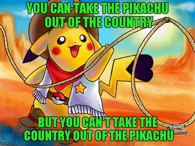 YOU CAN TAKE THE PIKACHU OUT OF THE COUNTRY BUT YOU CAN'T TAKE THE COUNTRY OUT OF THE PIKACHU | made w/ Imgflip meme maker