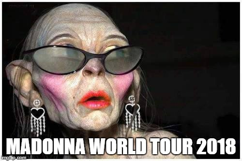 Madonna World Tour 2018 | MADONNA WORLD TOUR 2018 | image tagged in madonna | made w/ Imgflip meme maker