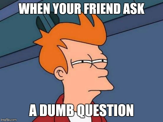 Futurama Fry Meme |  WHEN YOUR FRIEND ASK; A DUMB QUESTION | image tagged in memes,futurama fry | made w/ Imgflip meme maker