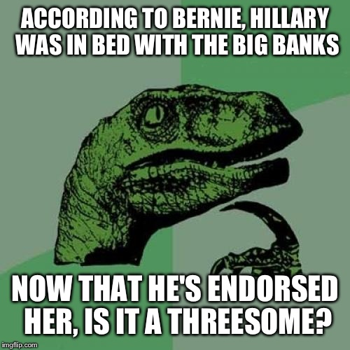 Philosoraptor Meme | ACCORDING TO BERNIE, HILLARY WAS IN BED WITH THE BIG BANKS NOW THAT HE'S ENDORSED HER, IS IT A THREESOME? | image tagged in memes,philosoraptor | made w/ Imgflip meme maker