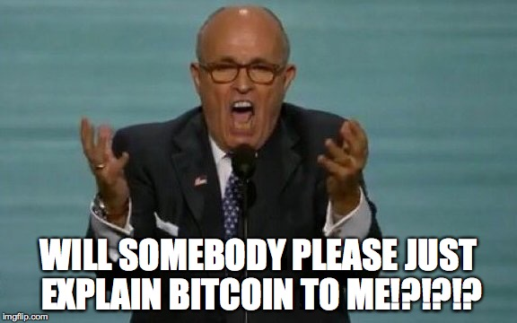 Rudy-lightful | WILL SOMEBODY PLEASE JUST EXPLAIN BITCOIN TO ME!?!?!? | image tagged in rnc,rudy,funny,meme,bitcoin | made w/ Imgflip meme maker