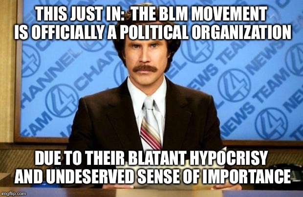 THIS JUST IN:  THE BLM MOVEMENT IS OFFICIALLY A POLITICAL ORGANIZATION DUE TO THEIR BLATANT HYPOCRISY AND UNDESERVED SENSE OF IMPORTANCE | made w/ Imgflip meme maker