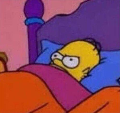Image result for grumpy homer bed meme
