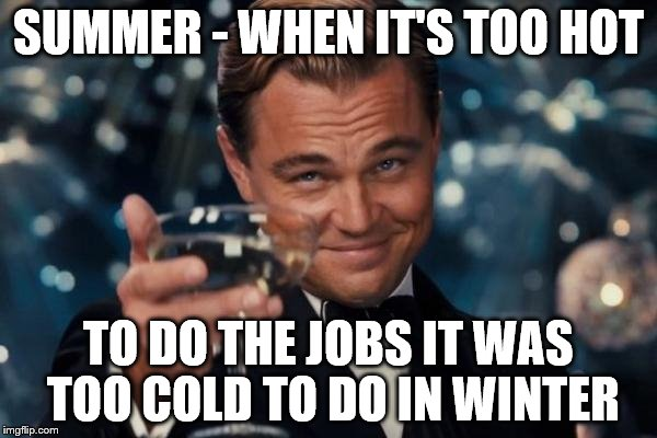 The weather is never perfect... :) | SUMMER - WHEN IT'S TOO HOT TO DO THE JOBS IT WAS TOO COLD TO DO IN WINTER | image tagged in memes,leonardo dicaprio cheers,weather,summer,diy | made w/ Imgflip meme maker