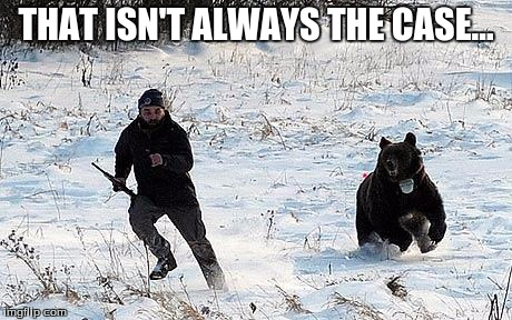 Confession Bear Chasing | THAT ISN'T ALWAYS THE CASE... | image tagged in confession bear chasing | made w/ Imgflip meme maker