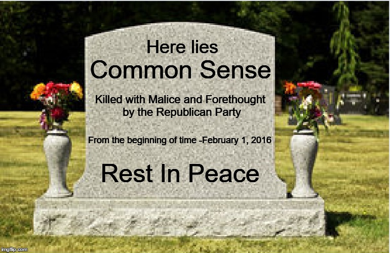 Here lies Common Sense Killed with Malice and Forethought by the Republican Party From the beginning of time -February 1, 2016 Rest In Peace | image tagged in common sense,republicans,r i p | made w/ Imgflip meme maker