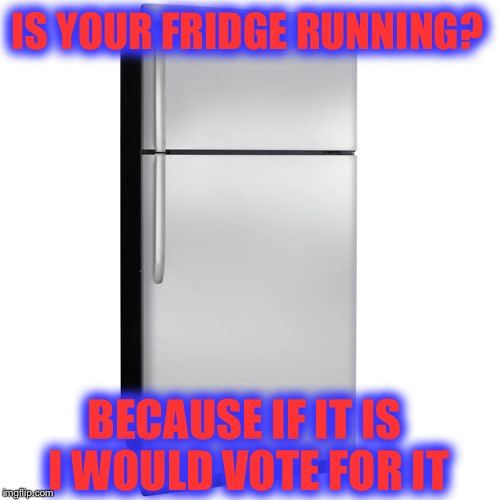 We're screwed  |  IS YOUR FRIDGE RUNNING? BECAUSE IF IT IS I WOULD VOTE FOR IT | image tagged in fridge,memes,funny,election 2016,hillary,trump | made w/ Imgflip meme maker