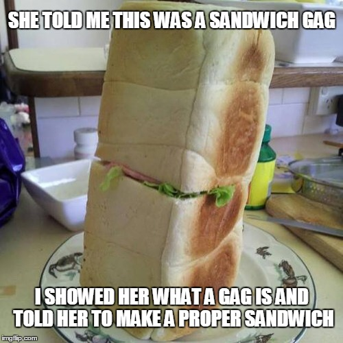 Sandwich gag | SHE TOLD ME THIS WAS A SANDWICH GAG I SHOWED HER WHAT A GAG IS AND TOLD HER TO MAKE A PROPER SANDWICH | image tagged in sandwich gag | made w/ Imgflip meme maker
