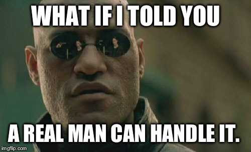 Matrix Morpheus Meme | WHAT IF I TOLD YOU A REAL MAN CAN HANDLE IT. | image tagged in memes,matrix morpheus | made w/ Imgflip meme maker