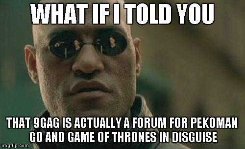 9/11gay | WHAT IF I TOLD YOU THAT 9GAG IS ACTUALLY A FORUM FOR PEKOMAN GO AND GAME OF THRONES IN DISGUISE | image tagged in memes,matrix morpheus,9gay,9,gay,gag | made w/ Imgflip meme maker
