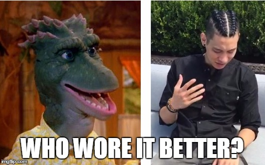 Jeremy Lin, Dinosaurs Mom | WHO WORE IT BETTER? | image tagged in who,who wore it better,jeremy lin,dinosaurs,cornrows,boxer braids,Nbamemes | made w/ Imgflip meme maker