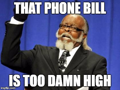 Too Damn High Meme | THAT PHONE BILL IS TOO DAMN HIGH | image tagged in memes,too damn high | made w/ Imgflip meme maker