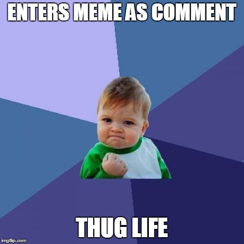 ENTERS MEME AS COMMENT THUG LIFE | image tagged in memes,success kid | made w/ Imgflip meme maker