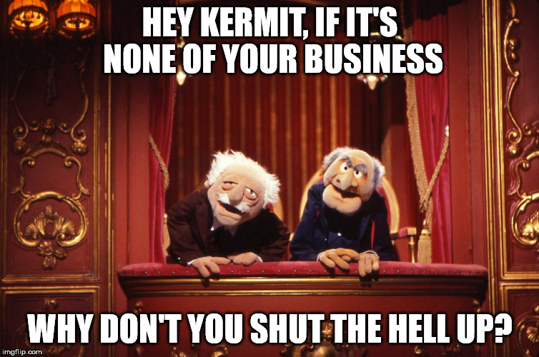 Muppets | HEY KERMIT, IF IT'S NONE OF YOUR BUSINESS WHY DON'T YOU SHUT THE HELL UP? | image tagged in muppets | made w/ Imgflip meme maker