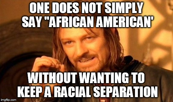 "One Does Not Simply Meme | ONE DOES NOT SIMPLY SAY ""AFRICAN AMERICAN' WITHOUT WANTING TO KEEP A RACIAL SEPARATION 