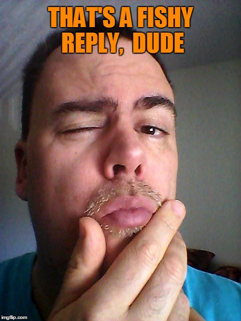 THAT'S A FISHY REPLY,  DUDE | made w/ Imgflip meme maker