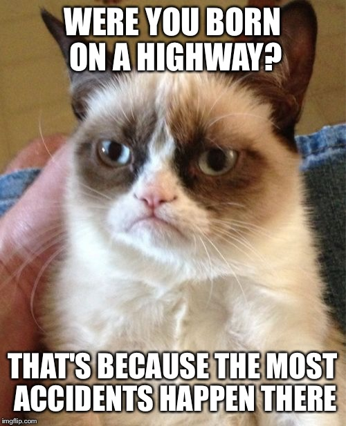 I-95 presumably  | WERE YOU BORN ON A HIGHWAY? THAT'S BECAUSE THE MOST ACCIDENTS HAPPEN THERE | image tagged in memes,grumpy cat | made w/ Imgflip meme maker