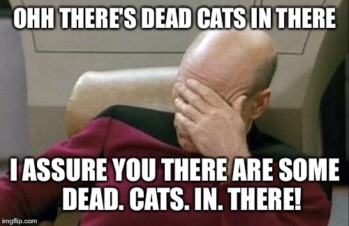 Captain Picard Facepalm Meme | OHH THERE'S DEAD CATS IN THERE I ASSURE YOU THERE ARE SOME   DEAD. CATS. IN. THERE! | image tagged in memes,captain picard facepalm | made w/ Imgflip meme maker