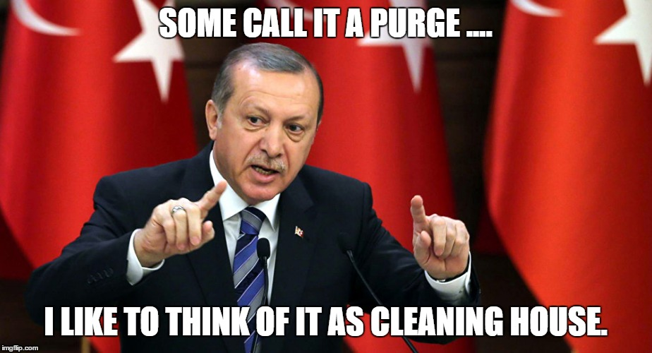 Erdogan's Purge | SOME CALL IT A PURGE .... I LIKE TO THINK OF IT AS CLEANING HOUSE. | image tagged in turkey,erdogan,purge,coup,memes,meme | made w/ Imgflip meme maker