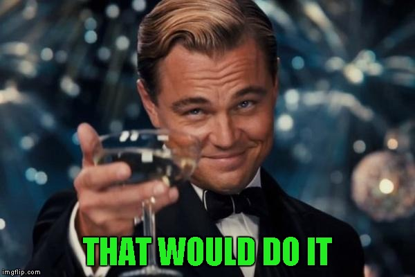 Leonardo Dicaprio Cheers Meme | THAT WOULD DO IT | image tagged in memes,leonardo dicaprio cheers | made w/ Imgflip meme maker