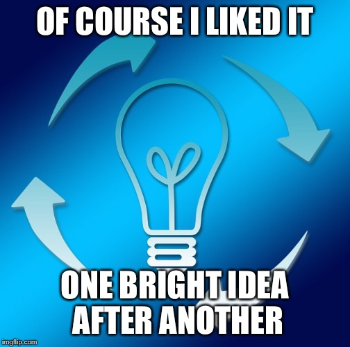 LIGHTBULB WITH ARROWS | OF COURSE I LIKED IT ONE BRIGHT IDEA AFTER ANOTHER | image tagged in lightbulb with arrows | made w/ Imgflip meme maker