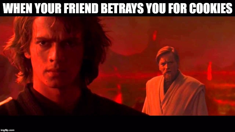 WHEN YOUR FRIEND BETRAYS YOU FOR COOKIES | image tagged in cookies,star wars | made w/ Imgflip meme maker