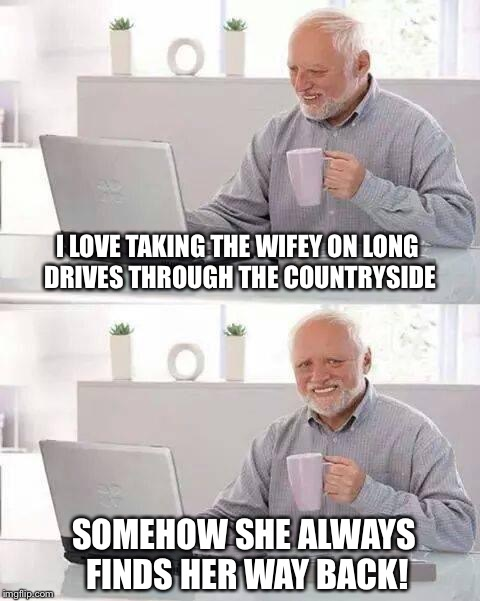 Hide the Pain Harold Meme | I LOVE TAKING THE WIFEY ON LONG DRIVES THROUGH THE COUNTRYSIDE SOMEHOW SHE ALWAYS FINDS HER WAY BACK! | image tagged in memes,hide the pain harold | made w/ Imgflip meme maker