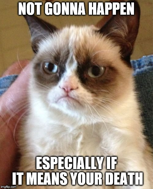 Grumpy Cat Meme | NOT GONNA HAPPEN ESPECIALLY IF IT MEANS YOUR DEATH | image tagged in memes,grumpy cat | made w/ Imgflip meme maker