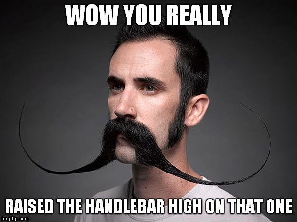 WOW YOU REALLY RAISED THE HANDLEBAR HIGH ON THAT ONE | made w/ Imgflip meme maker