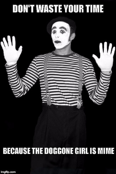 mime in the box | DON'T WASTE YOUR TIME BECAUSE THE DOGGONE GIRL IS MIME | image tagged in mime in the box | made w/ Imgflip meme maker